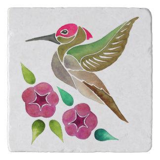 Hummingbird and Petunia Abstract Painting Trivet