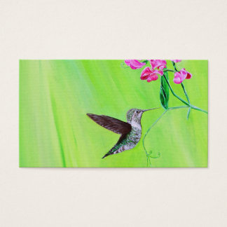 Hummingbird and Sweet Peas Business Card