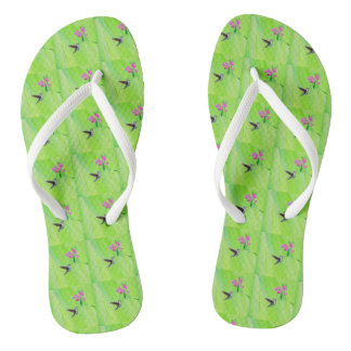 Hummingbird and Sweet Peas Flip Flops