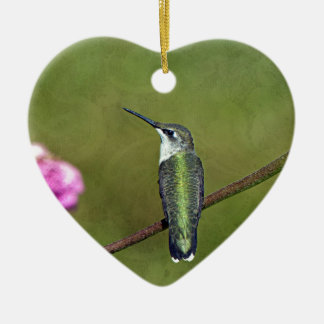 Hummingbird and Zinnia Ceramic Heart Ornament
