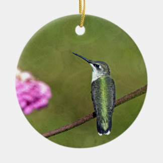 Hummingbird and Zinnia Round Ceramic Ornament