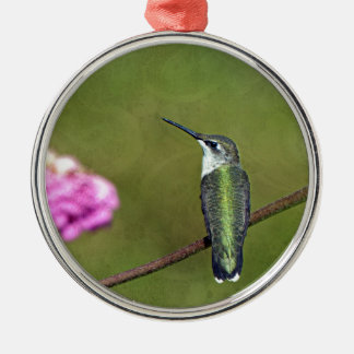 Hummingbird and Zinnia Silver-Colored Round Ornament