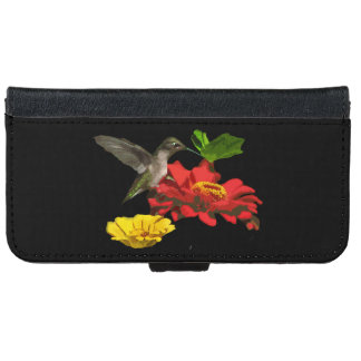 Hummingbird and Zinnias iPhone 6 Wallet Case