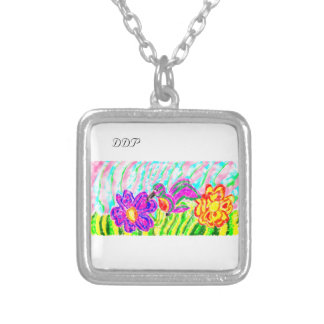 hummingbird art three silver plated necklace