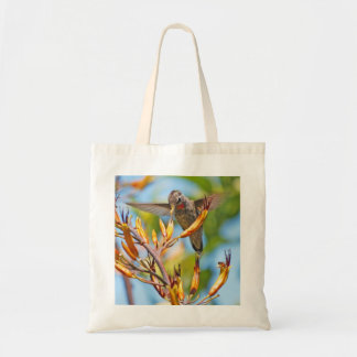 Hummingbird at Flax Flower Tote Bag
