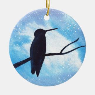 Hummingbird At Night Ceramic Ornament