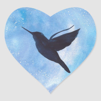 Hummingbird At Night Heart Sticker