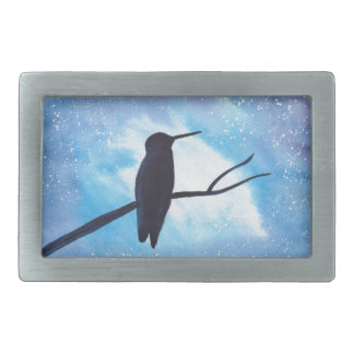 Hummingbird At Night Rectangular Belt Buckle
