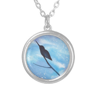Hummingbird At Night Silver Plated Necklace