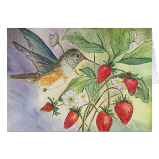 Hummingbird at the Strawberries Card