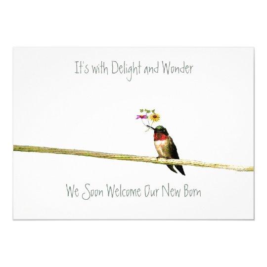 Hummingbird Baby Shower Invitation: gender neutral Card