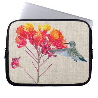 Hummingbird Bird Animal Floral Wildlife Laptop Sleeve