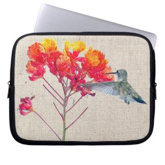Hummingbird Bird Animal Floral Wildlife Laptop Sleeve