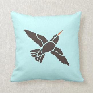 Hummingbird Bird Birds Black Art Cartoon Pillow
