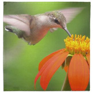 Hummingbird Bird Floral Animal Wildlife Flower Cloth Napkins