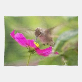 Hummingbird Bird Floral Animal Wildlife Flower Kitchen Towel