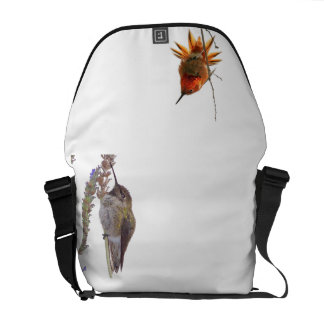 Hummingbird Bird Floral Animal Wildlife Flower Messenger Bag
