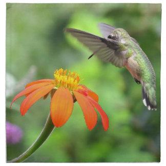Hummingbird Bird Floral Animal Wildlife Flower Napkin