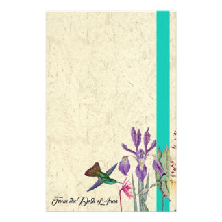 Hummingbird Bird Flowers Personalized Stationery