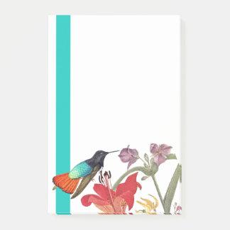 Hummingbird Bird Flowers Striped Post It Notes