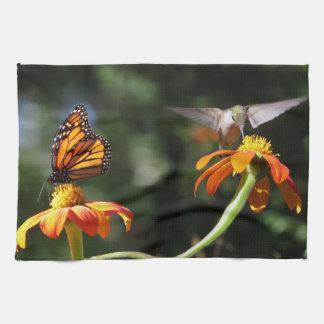 Hummingbird Bird Monarch Butterfly Flower Floral Hand Towels