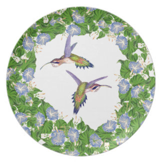 Hummingbird Bird Morning Glory Flower Floral Plate