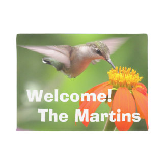 Hummingbird Bird Sunflower Flower Floral Garden Doormat