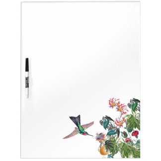 Hummingbird Bird Tropical Flowers Dry Erase Board