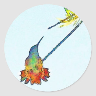 Hummingbird Bird Wildlife Animal Floral Classic Round Sticker