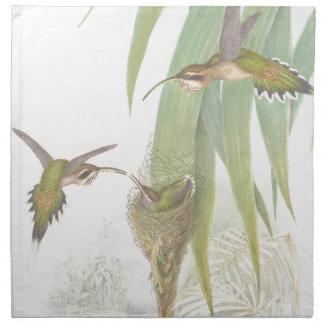 Hummingbird Bird Wildlife Animals Leaves Cloth Napkin