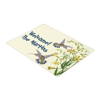 Hummingbird Bird Wildlife Flower Floral Garden Doormat