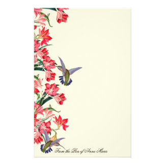 Hummingbird Birds Amarylis Flowers Floral Stationery Design