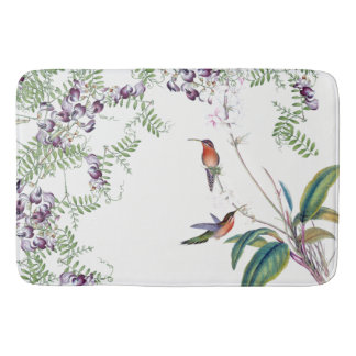 Hummingbird Birds Animals Flowers Bath Mat