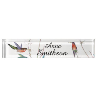 Hummingbird Birds Animals Flowers Floral Desk Name Plate