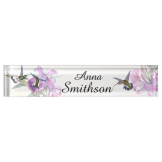 Hummingbird Birds Animals Orchid Flowers Floral Name Plates