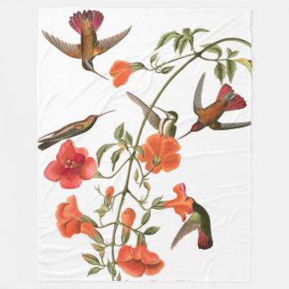 Hummingbird Birds Audubon Flowers Fleece Blanket