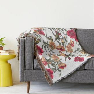 Hummingbird Birds Audubon Flowers Throw Blanket