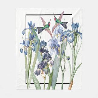 Hummingbird Birds Blue Iris Flowers Fleece Blanket
