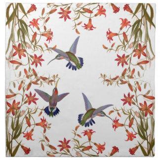Hummingbird Birds Floral Flower Garden Napkins