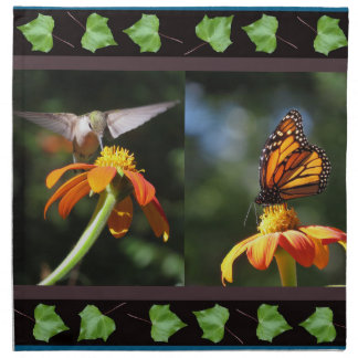 Hummingbird Birds Floral Monarch Butterfly Flowers Cloth Napkins