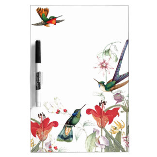 Hummingbird Birds Flower Garden Dry Erase Board