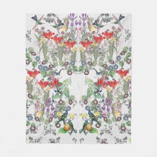 Hummingbird Birds Flower Garden Fleece Blanket