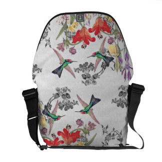 Hummingbird Birds Flower Garden Messenger Bag