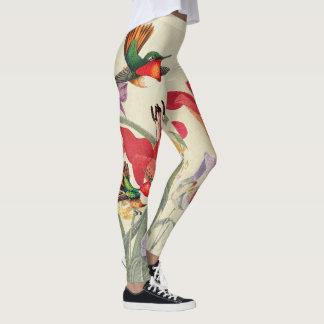 Hummingbird Birds Flowers All Over Print Leggings