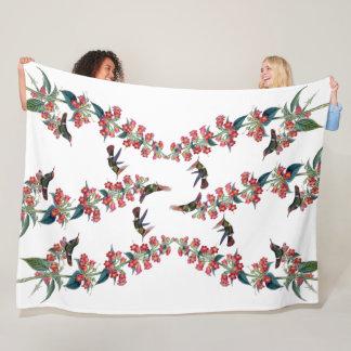 Hummingbird Birds Flowers Animals Fleece Blanket