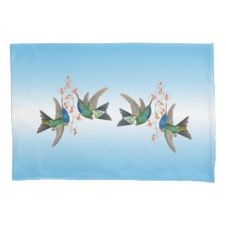 Hummingbird Birds Flowers Blue Ombre Pillowcase