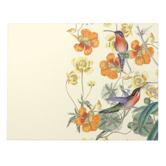 Hummingbird Birds Flowers Floral Wildlife Notepad