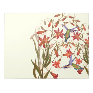 Hummingbird Birds Flowers Floral Wildlife Notepad