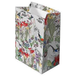 Hummingbird Birds Flowers Garden Gift Bag
