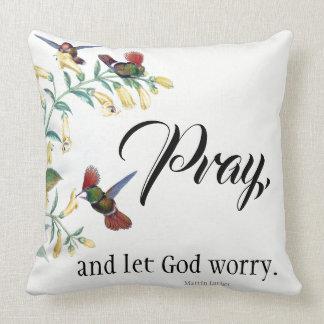 Hummingbird Birds Flowers Pray Throw Pillow